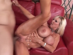 Dirty Blonde Cougar Fucks On The Couch