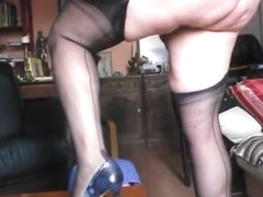 Blonde chubby MILF Walking in classic Nylons Big ass parade