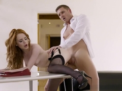 Ginger girl Ella Hughes gets fucked at work