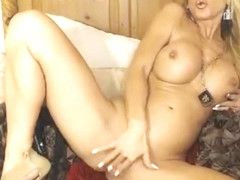 Busty Blonde MILF Drills Her Pussy