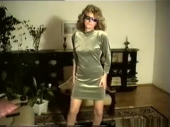 70's curly blonde retro girl strips and dances in the living room