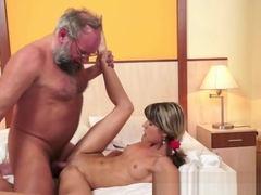 Pussylicked 18yo Rides Lucky Seniors Cock