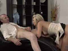 OLD4K. Spontaneous sex of daddy and blonde starts with nice blowjob