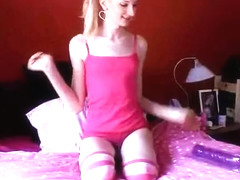 Lonely blonde Tgirl solo with a toy