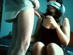 Blindfolded brunette sucking and showing her big ass