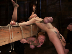 2 Girls, Massive Tits, Bound, 1 Suspended, 1 Neck Tied Down  Arched.Both Made To Brutally Cum - Ho.