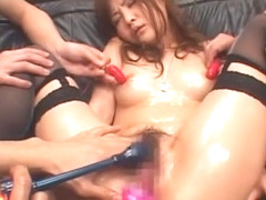 Exotic Japanese whore Kanna Harumi in Hottest Stockings, Masturbation JAV clip