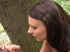 Autumn & Grace & Bianca & Olie & Savannah in group sex with nude students in the outdoors