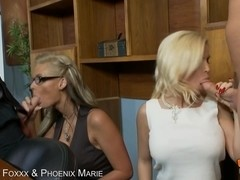 Diamond Foxxx and Phoenix marie both swallow cock and get their asses fucked