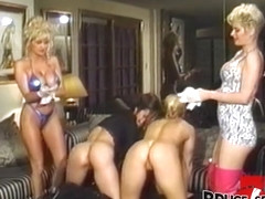 Vintage dykes group stretching their asses with many toys