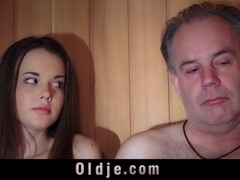 Oldguy has a sex adventure with the girl he meets in sauna