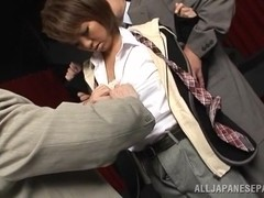 Naughty office lady Hikari in break time threesome