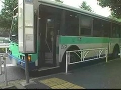 Japanese bukkake in a public bus