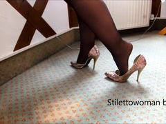 Mini Skirt, black Nylons and 5 inch glitter Heels, Stilettowoman bbw