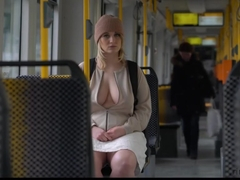 Awesome blond woman flashes tits and pussy in public - RARE