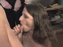 Lovely brunette Lena gets all her holes fucked at once by four guys