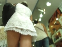 Real public upskirt vid with a hot brunette