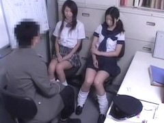 Horny police officer fucked two naughty Japanese bimbos