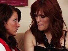 Redhead and her lesbian partner make out until climax