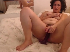 Curly hair brunette chubby wife masturbates (Part 1)