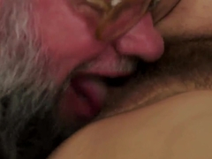 Teen brunette babe Hadjara gets fucked by bearded old man and licks his ass