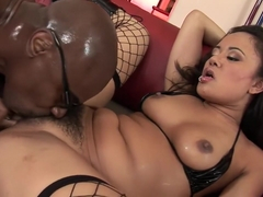 Annie Cruz fucks his big black snake and then takes it up her butt