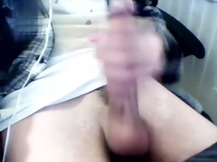 Handsome fag is jerking off in the apartment and shooting himself on web camera