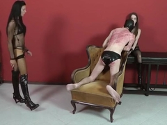 Two cute mistressess whipping male slave
