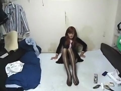 crossdresser noriko Stripe stocking