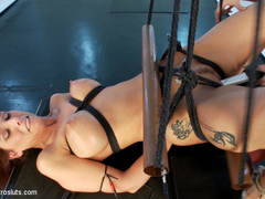 Lea Lexis & Syren de Mer in D-Cup Milf Squirts While Electrofucked In Copper Pipe Bondage - Electr.