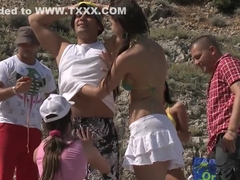 Naughty group sex tournament on the beach part 1
