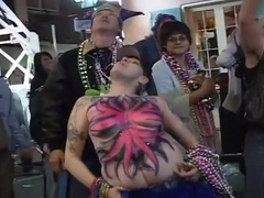 Mardi Gras Whores Flash Their Cleavage
