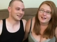 Nerdy obese redhead copulates boyfriend on camera