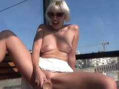 Public masturbation in the telecabin. A real orgasm.
