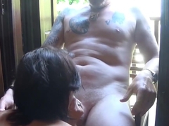 CUM-A-LOT-GERMAN AMATEUR HOUSEWIFE-POV Bj and facial on balcony