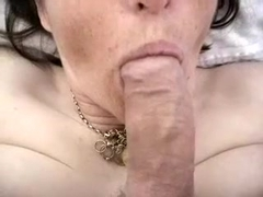 Part 1 sucking & wanking before hubby gives me a mouth full of cum