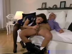 Leggy brunette fucked by senior