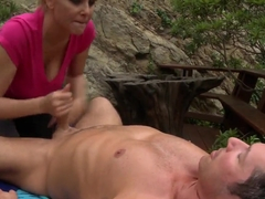 Big racked blonde mom Julia Ann fucking in nature
