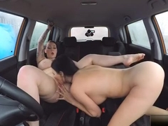 Busty Harmony Reigns And Examiner Make Out In The Car