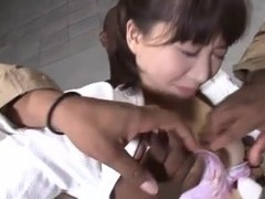 Curvy Japanese slut in a nasty threesome action