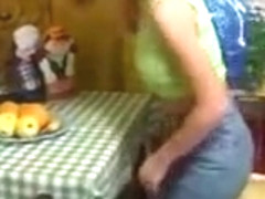 Cute russian pigtailed girl krista playing with a banana