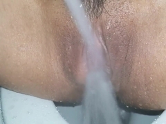 Horny and swollen clit got sprayed and cum so sensitive.