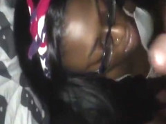 Black girl kissing an black massive dick for a facial