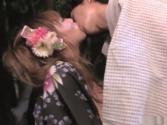 Eri Hoshikawa sucks cock during a summer festival