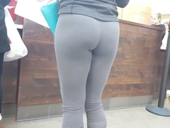 Sexy college college girl in spandex at store spy