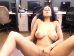Hot secretary masturbate in office