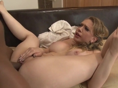 Saucy Kagney Karter gets showered with thick dick juice