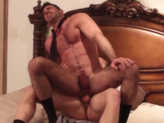 Muscled hunk fucks masturbating bear