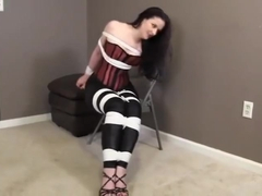 CAROLINE PIERCE TIED UP TIGHT WEARING CORSET!