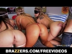 3 large ass nubiles are blindfolded and drilled in an fuckfest